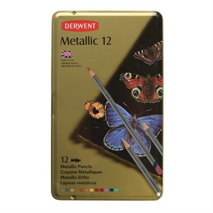 Derwent Metallic Colour Pencils Metalik Kuru Boya Kalemi 12li Teneke Kutu