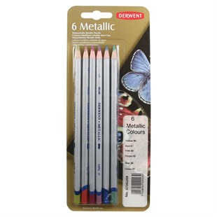 Derwent Metallic Coloured Colour Pencils Metalik Renkli Kuru Boya Kalemi 6lı Blister